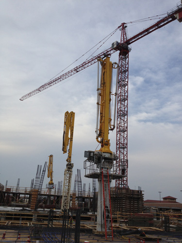 Concrete placing booms used by Capital Concrete Pumping