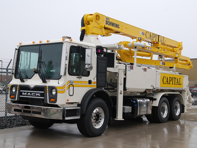 Schwing Concrete Pumping Truck - Boom Pump used by Capital Concrete Pumping